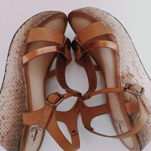 Corkys Brown Basket Weave Wedge Sandals